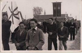 von links: mit Fahne Ferdinand Zisler, Johann Kollmannsberger, Englbert Kraus, Ludwig Wolf, Josef Brandl, Heribert Haider, Hans Fischer